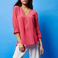 RI Studio pink zip silk blouse