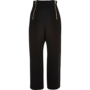Black zip cropped pants
