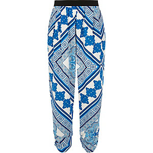 Blue printed jersey joggers
