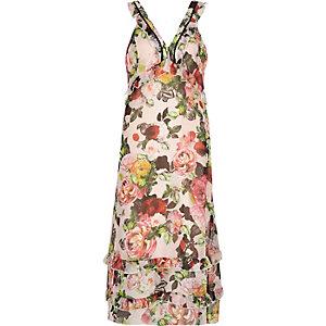 Pink floral-print georgette maxi dress