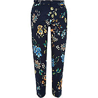 Blue printed skinny trousers