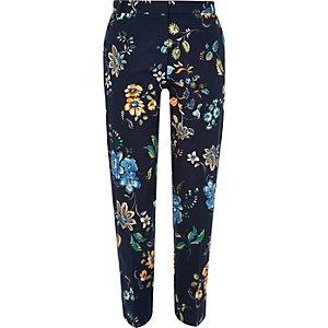 Blue printed skinny pants