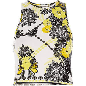 Yellow print crop top