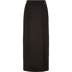 Black wrap front belted maxi skirt