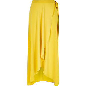 Yellow wrap front maxi skirt