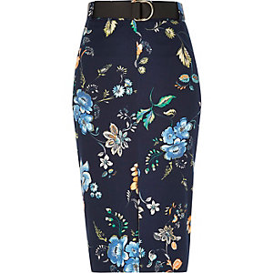 Navy belted pencil skirt
