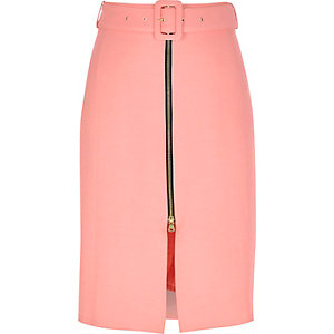 Pink belted A-line midi skirt