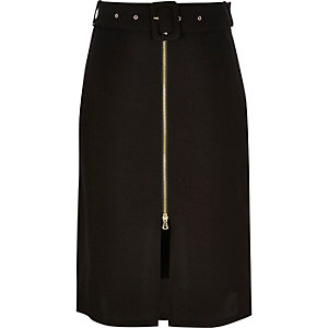 Black belted A-line midi skirt