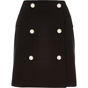 Black military A-line skirt
