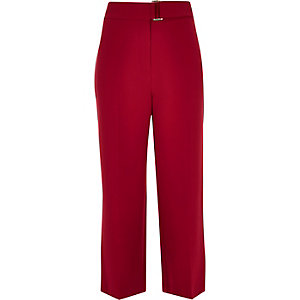 Dark red soft cropped pants