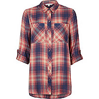 Pink checked relaxed fit shirt