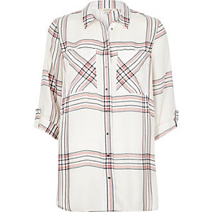 White checked relaxed fit shirt