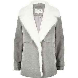 Grey faux fur collar pea coat