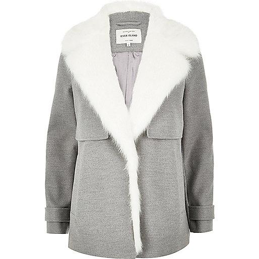 Grey faux fur collar pea coat