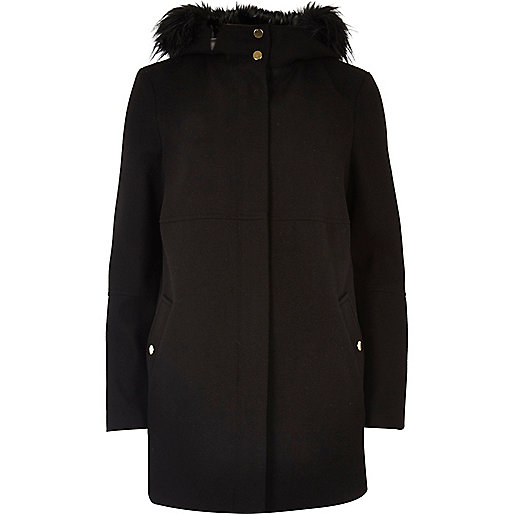 Black wool-feel faux fur coat