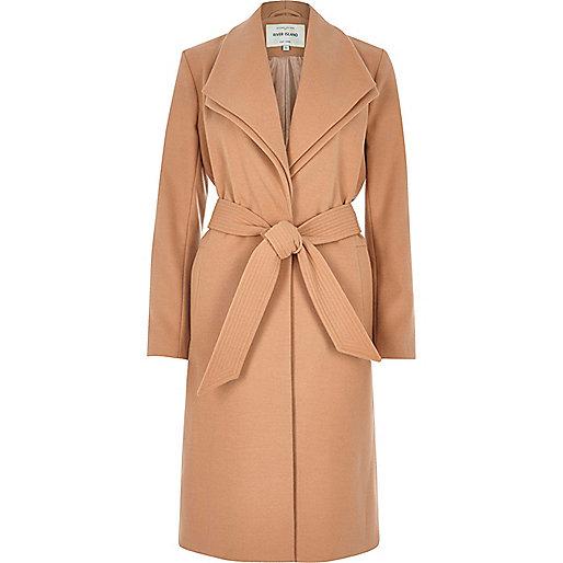 Manteau long marron clair à double col