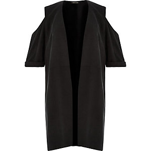 RI Plus black cold shoulder kimono