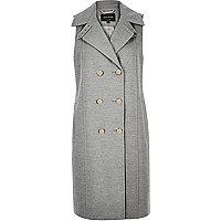 Grey sleeveless double-breasted jacket