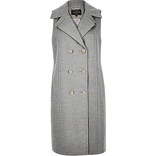 Grey sleeveless double-breasted wool jacket
