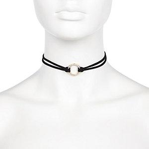 Black diamanté circle choker necklace
