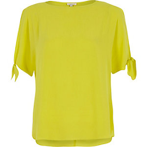 Lime tied sleeves t-shirt