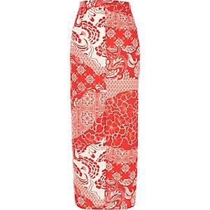 Red print maxi skirt