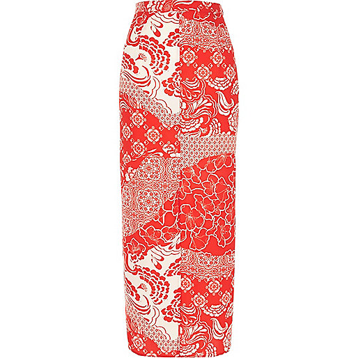 Red print maxi skirt