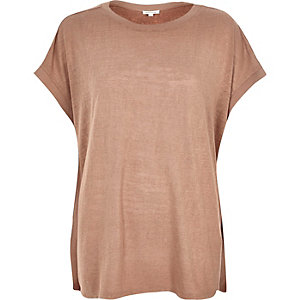 Tan square fit t-shirt