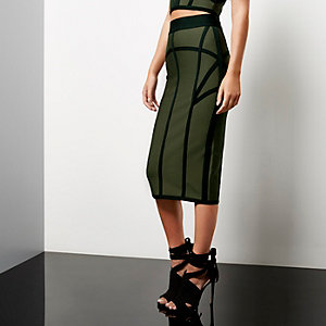 Khaki bandage pencil skirt