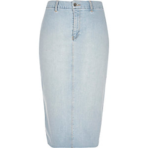 Light blue wash denim pencil skirt