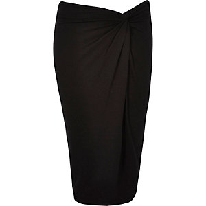 Black twist knot pencil skirt