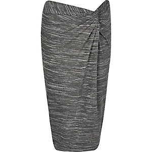 Grey twist knot pencil skirt
