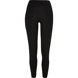 Black leather-look side panel leggings