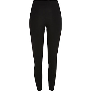 Black mesh hem leggings