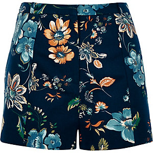 Navy floral print high waisted shorts