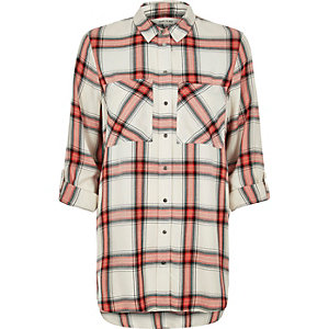Orange checked relaxed fit shirt