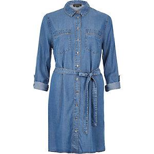 Robe chemise en jean délavage bleu moyen