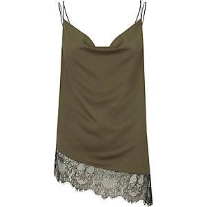 Khaki asymmetric lace cami