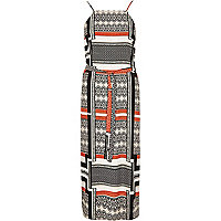 Black stripe print midi slip dress