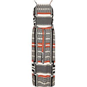 Black stripe print midi slip dress