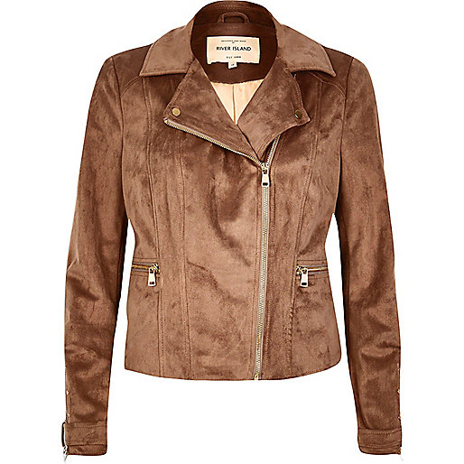Brown faux suede biker jacket