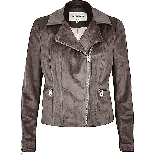 Grey faux suede biker jacket