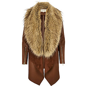 Brown faux fur fallaway coat