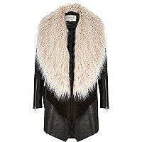 Black faux fur fallaway coat