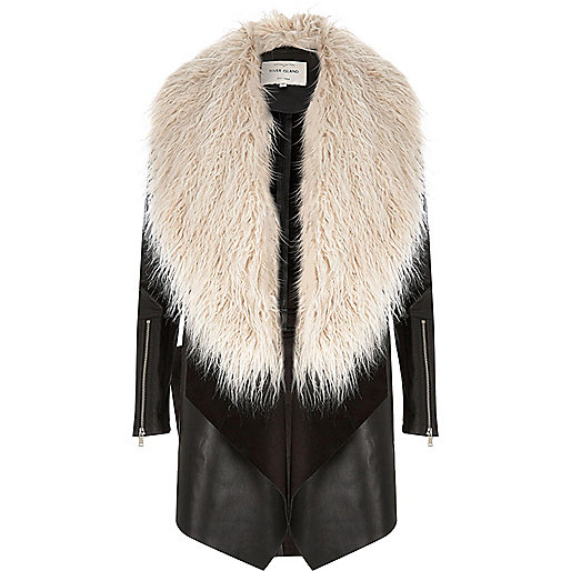 Black faux fur fallaway coat