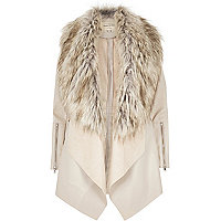 Cream faux fur fallaway jacket