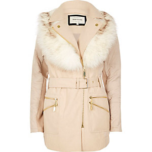 Cream padded faux fur collar coat
