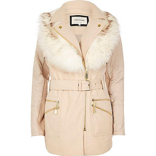 Cream padded faux fur collar coat