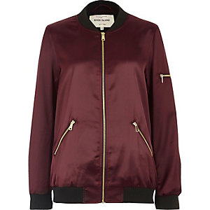 Dark red satin bomber jacket