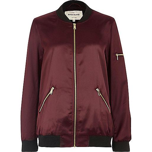 Dark red satin bomber jacket